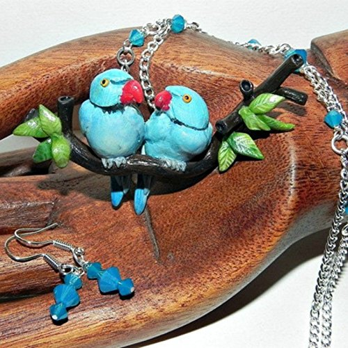 - Indian Ringnecks Necklace Set, Hand Sculpted, Handmade