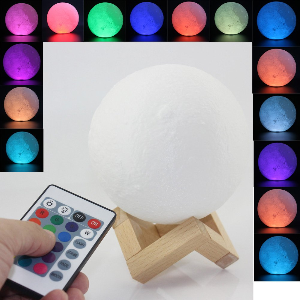 Moon Lamp 3D Printed Remote Control Night Light 16 RGB Colors Changing Dimmable LED Mood Light USB Rechargeable Moonlight 12cm/4.7 inch With Wood Stand (12cm)