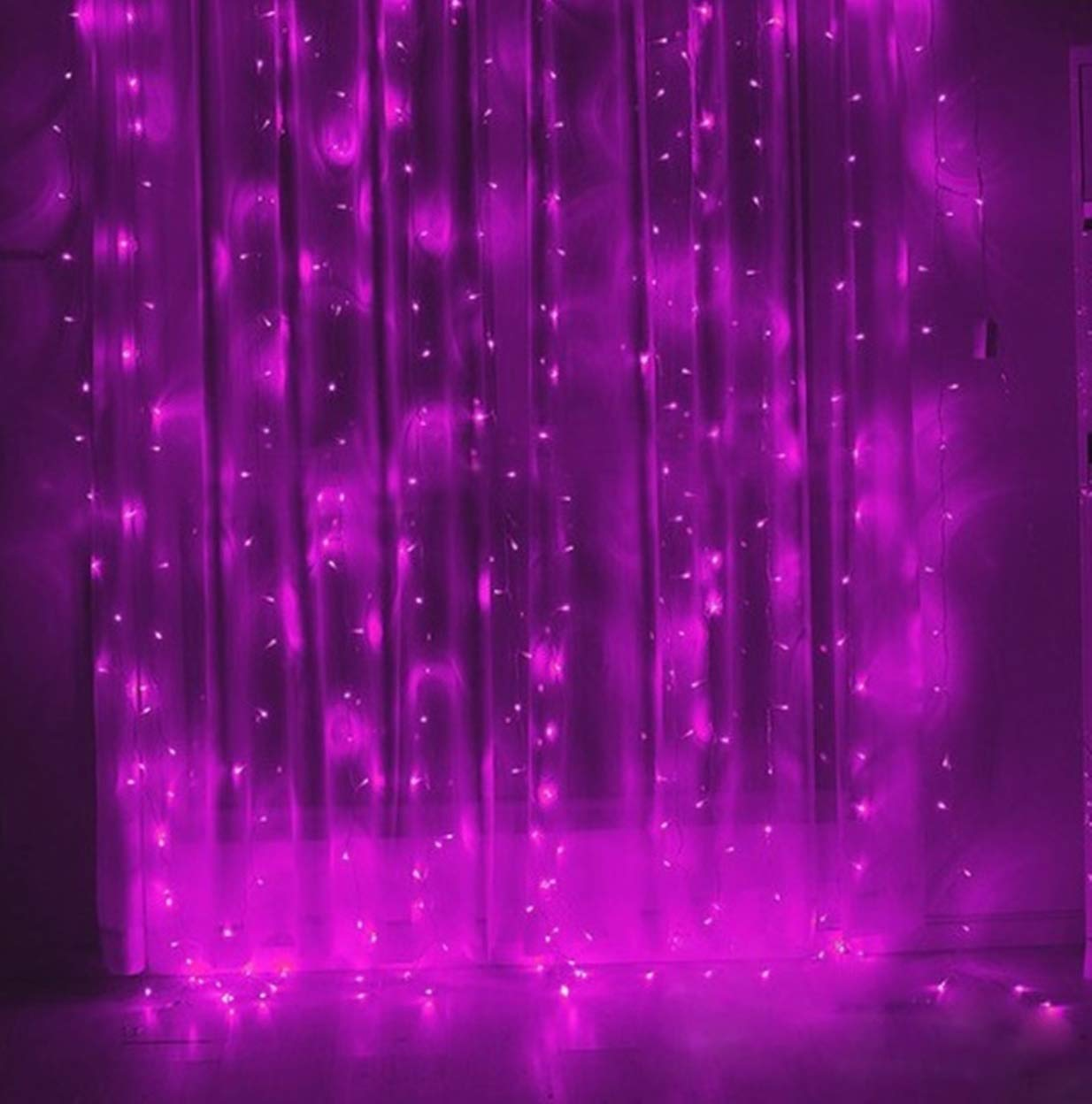 1 Pack 3x3m LED Night Light Fairy Curtain String Christmas Lights Girls Lamp Important Fashionable Unicorn Star Bulbs Wall Room Lamps Indoor Outdoor Holiday Decorative, Type-04