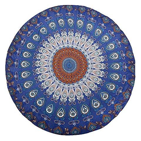 Paladineer Round Beach Throw Beach Towel Picnic Mat Cotton Bohemian Mandala Roundies Blue (Big Circle White Fur Rug)