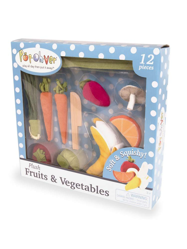 Pop Oh Ver - 21 Piece Plush Fruits & Vegetables Kitchen Play Set - Comes With Realistic Looking Foods -Pretend Play For Kids Fake Foods For Imaginative Role Play-Great For Young Boys and Girls ages 3+