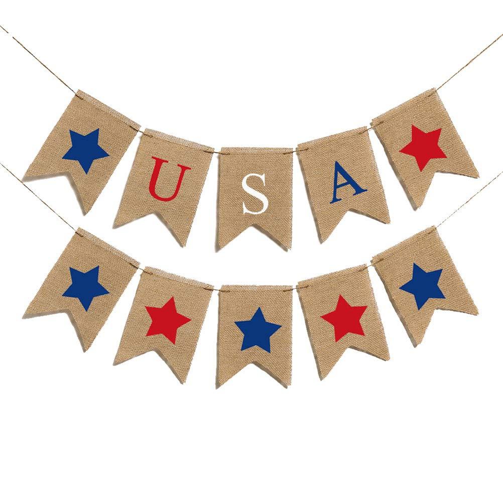 Amosfun 2m米国旗バナー 黄麻布バナー スワローテールフラッグ バナー ガーランド 7月4日用   B07QJG4WKJ
