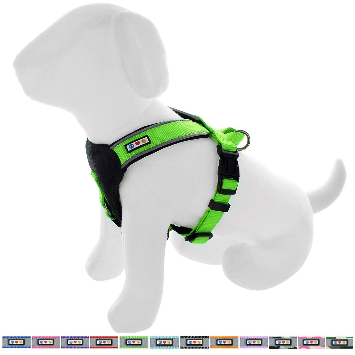 Pawtitas Pet Training Soft Adjustable Reflective Oxford Padded Puppy/Dog Harness, Step in or Vest Harness, Comfort Control, Training Walking - No More Pulling, Tugging, Extra Small Green