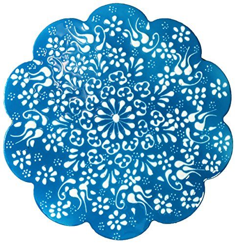 Hand-Painted Ceramic Pottery Tile Trivet Turquoise with White Flowers