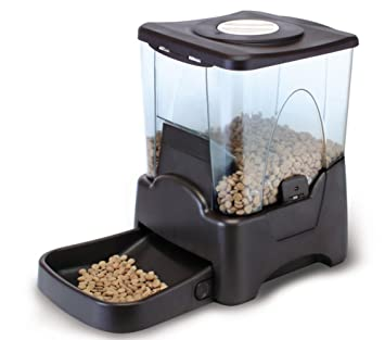 10L Alimentador Automático De Alimentos Secos para Mascotas para Gatos Y Perros Grabación De Voz Y Ajuste De Tiempo Negro Programable: Amazon.es: Deportes y ...