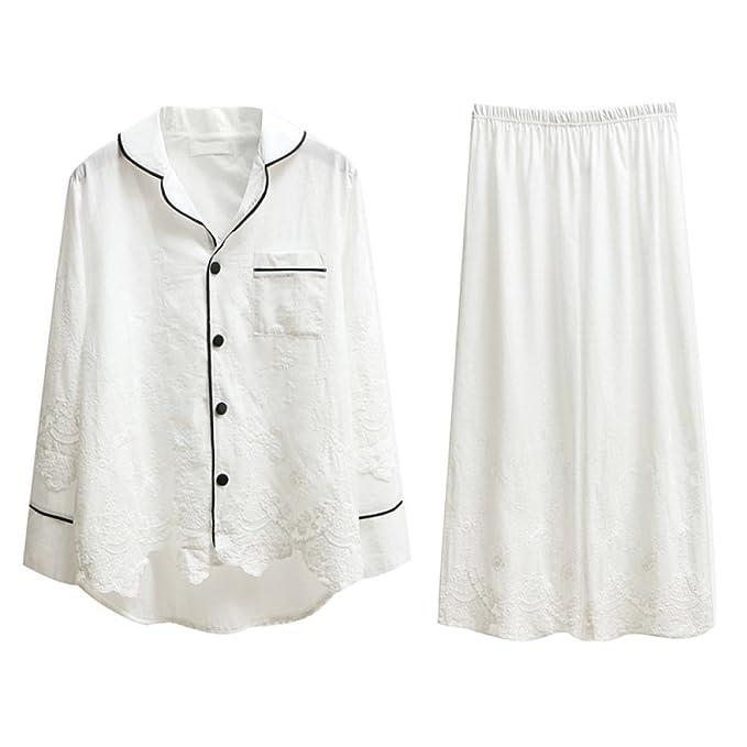 ASDYY Pijamas De Las Mujeres - Cuello De La Camisa Manga Corta Bordada del Cuello De