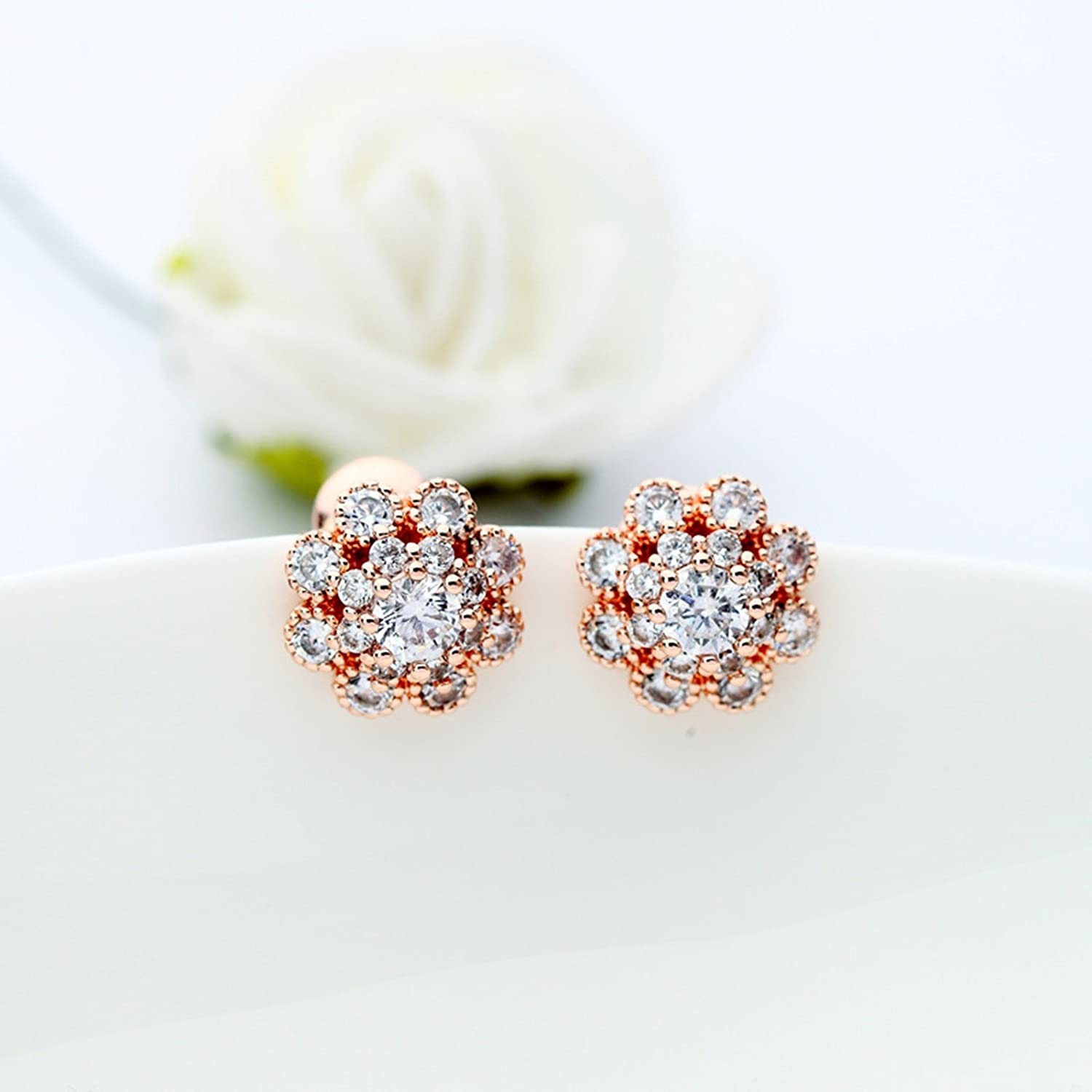 Beydodo Gold Plated Earrings Stud for Womens Flowers Rose Gold Cubic Ziconia Wedding Earrings for Brides
