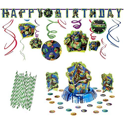 (Cedar Crate Teenage Mutant Ninja Turtles Party Decoration Supplies Pack Including Hanging Swirls, Table Decorating Kit, Jumbo Banner, and Straws )