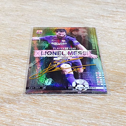 WCCFカード1枚 キラ仕様 オリカ17-18POY-Sメッシ バルセロナ 箔押しサインスリーブ