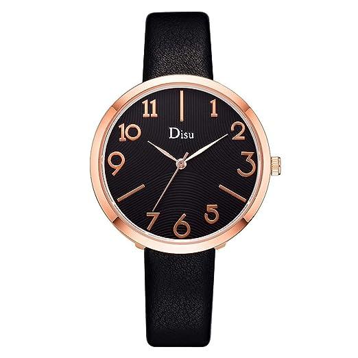 Reloj Mujer Correa De Cuero Reloj Moda Lujo Reloj Cuarzo Dama Creativo Número Término Análogo Watches: Amazon.es: Relojes