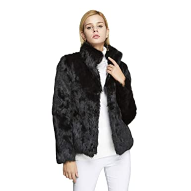 3b249cc5267c Fur Story Women's Real Rabbit Fur Coat with Mandarin Collar Fur Jacket  151249 (Black)