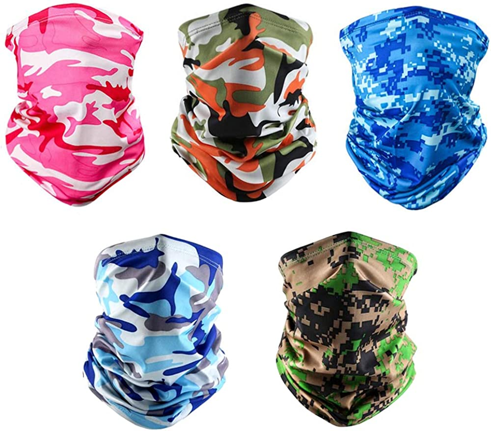 Seamless Face Cover Mouth Mask Scarf Bandanas Breathable Cooling Neck Gaiter - Dust UV Sun-Protection for Fishing Outdoors