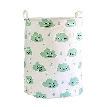 Fieans Kinderzimmer Aufbewahrungskorb Baumwolle Wäschekorb Wäschebox Nette  Haushalt Organizer Für Spielzeug Kleidung Schlafzimmer   Grüne Wolken