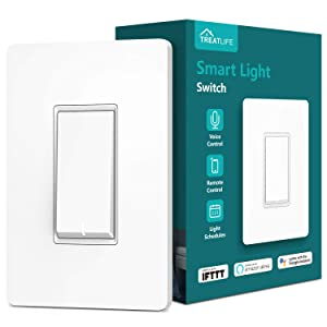 Smart Light Switch, Treatlife Wi-Fi Light Switch, Compatible with Alexa, Google Assistant and IFTTT, Single-Pole, Schedule, Remote Control, Neutral Wire Required, Easy Installation, ETL Listed(1 PACK)