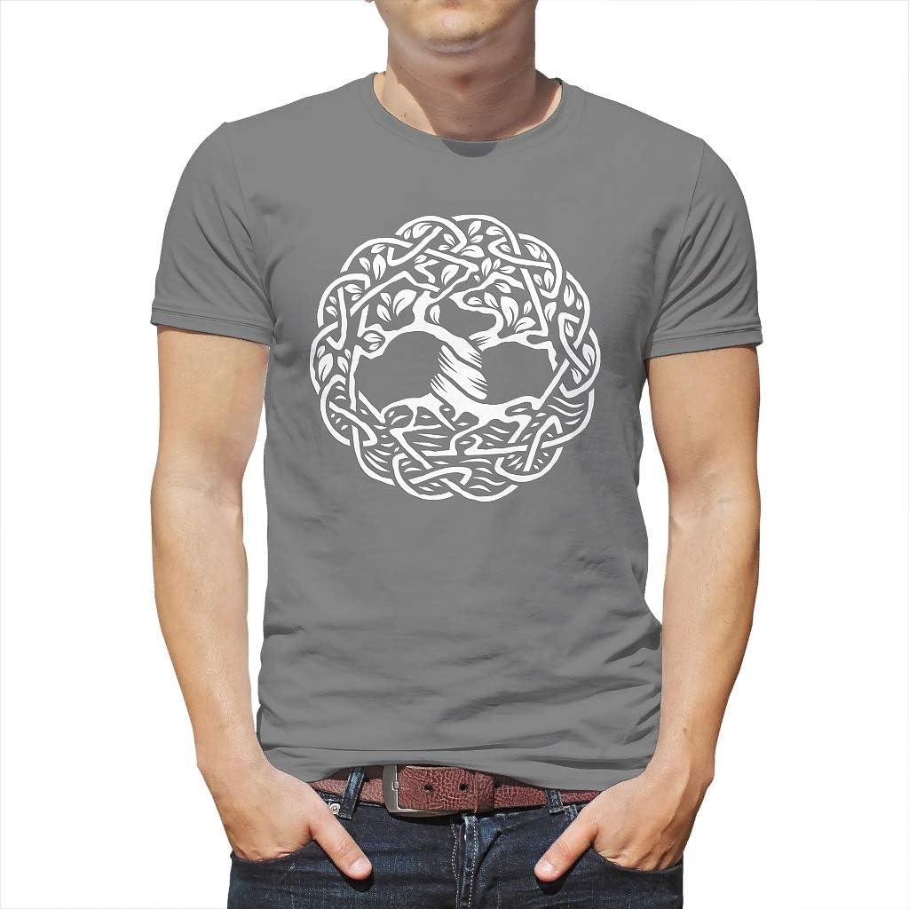 Cool– Camiseta para hombre, diseño celta Yggdrasil, árbol de la vida, impresión gráfica, camiseta, blusa vikinga, árbol gigante, fresno, tatuaje, informal: Amazon.es: Ropa y accesorios