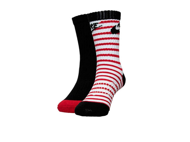 NIKE Boys Striped 2-Pack Crew Socks Size 9C-13C/5-6(Sock Size) by Nike