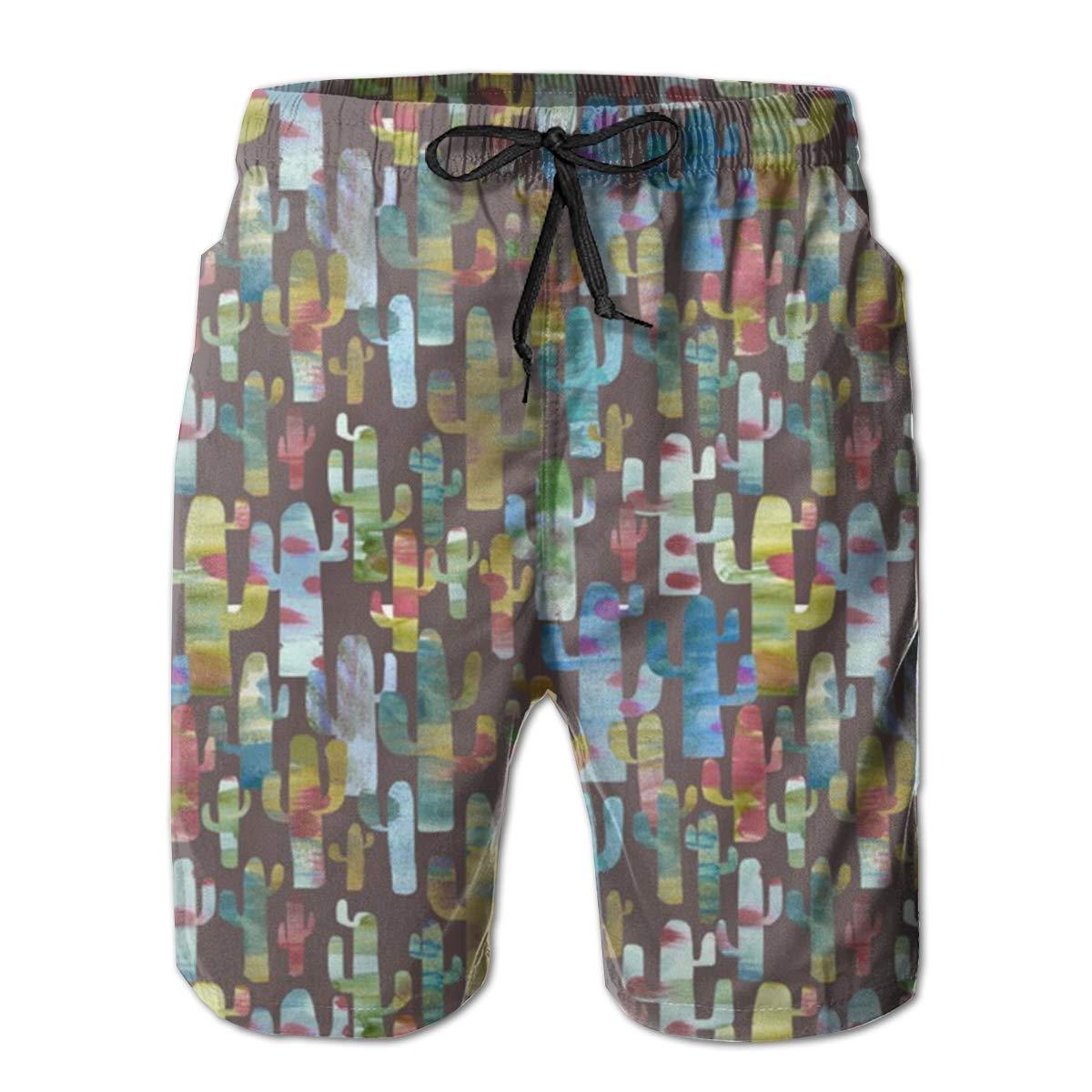 WMDJEG Colorful Individuals Cactus Mens Summer Beachwear Sports Running Swim Board Shorts Mesh Lining