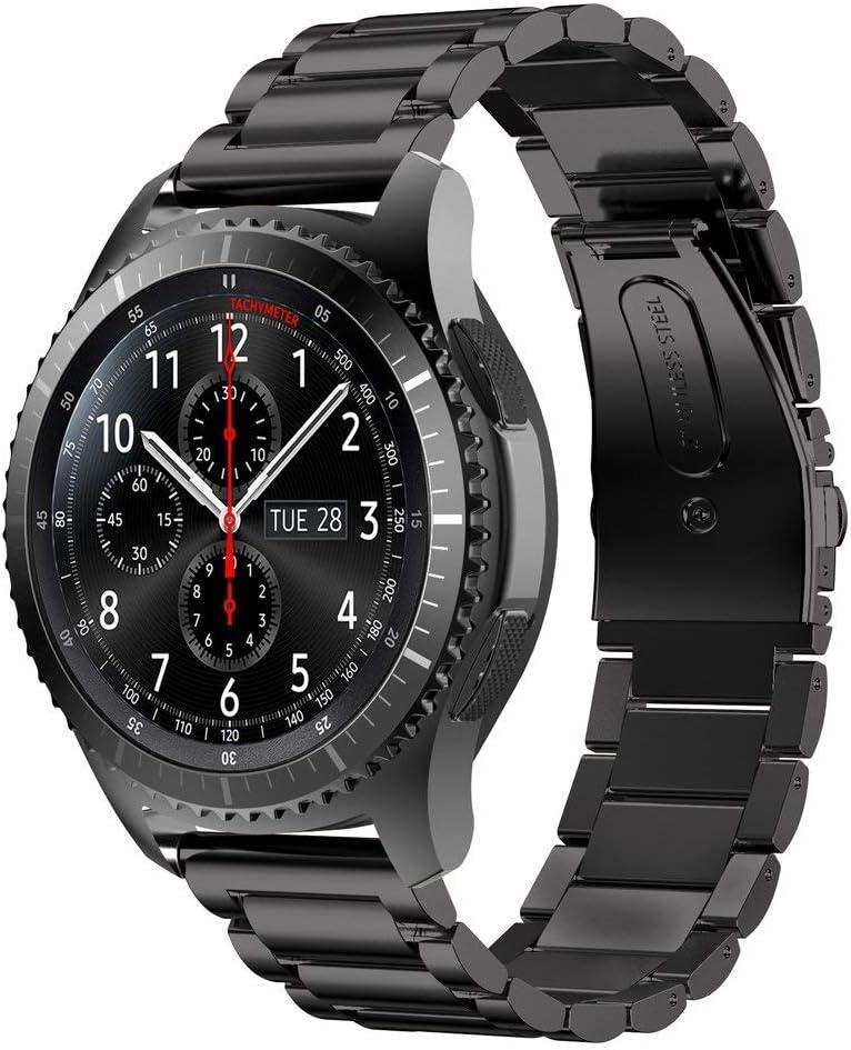 L@LILI Gear S3 Reloj Band Milanese Loop Correa de Acero Inoxidable para Reloj Inteligente para Samsung Gear S3 Frontier/S3 Classic,Black,22mm