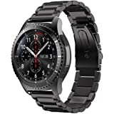 EloBeth Samsung Gear S3 Frontier Classic/Galaxy Watch 46mm/Huawei Watch GT/Huawei Watch GT 2 46mm/Ticwatch S2/Ticwatch E2/Ticwatch Pro バンド ステンレス製 22mm ベルド 腕時計 22mm バンド ビジネス風 (ステンレス 黒い)