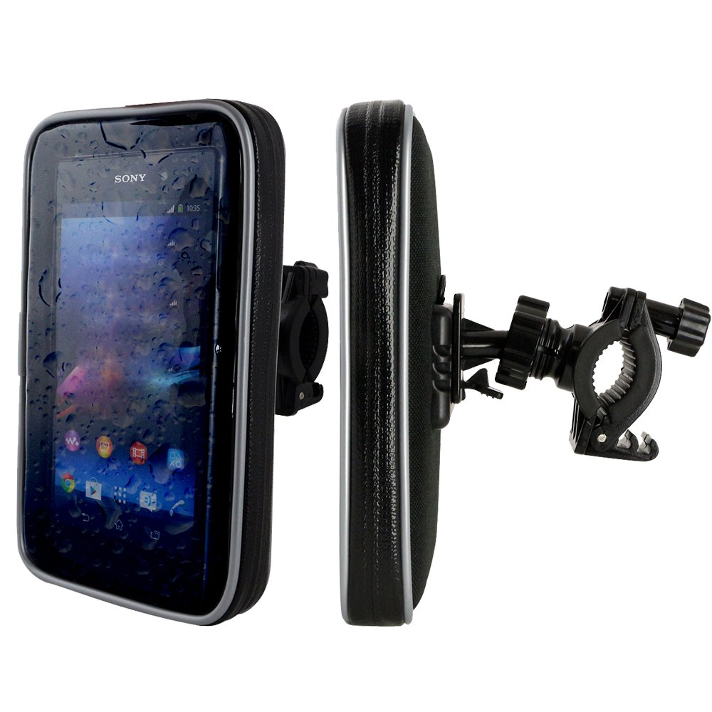 Fahrrad- und Motorrad-Halterung mit Schutz-Tasche f/ür Smartphone Display-Diagonale: 5,5 Handy Schutzh/ülle Spritzwasser gesch/ützt! MP3 Player H/öhe bis 15,5cm // Breite bis 8,6cm // Tiefe bis 1,8cm Navigator