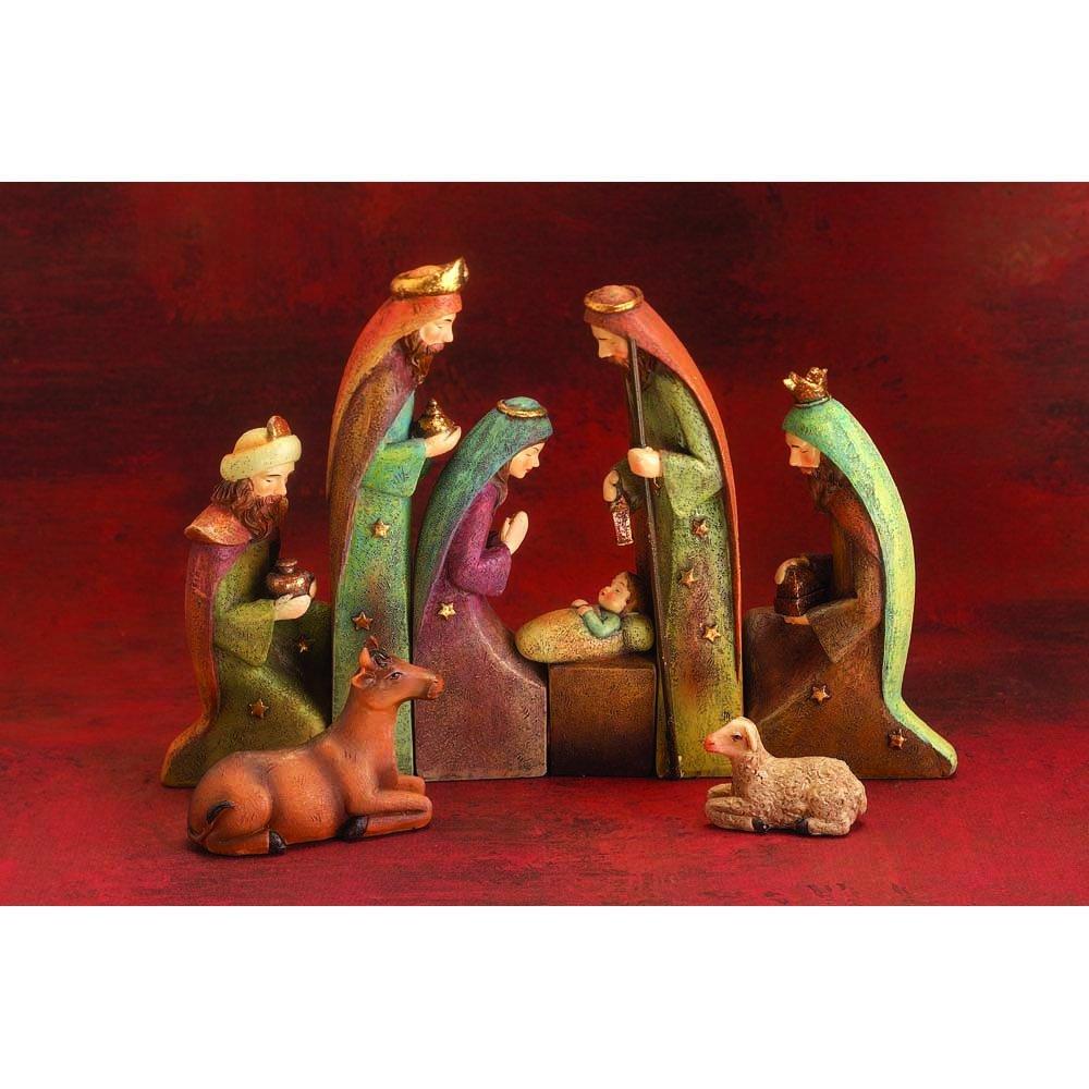 Nativity Scene 8 x 7 Resin Stone Christmas Nesting Figurine, Set of 8