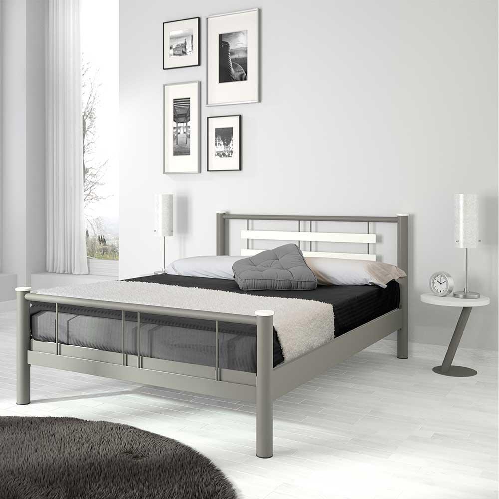 Pharao24 Jugendbett in Weiß Grau Metall Breite 189 cm Liegefläche 180x200