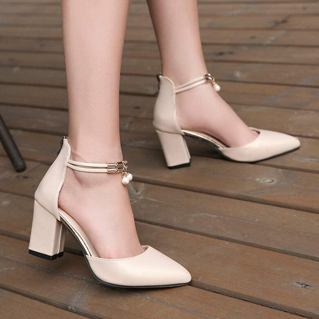Bestow Puntiagudo tac/ón Grueso Cremallera Damas Sandalias Moda Zapatos Zapatos de Mujer