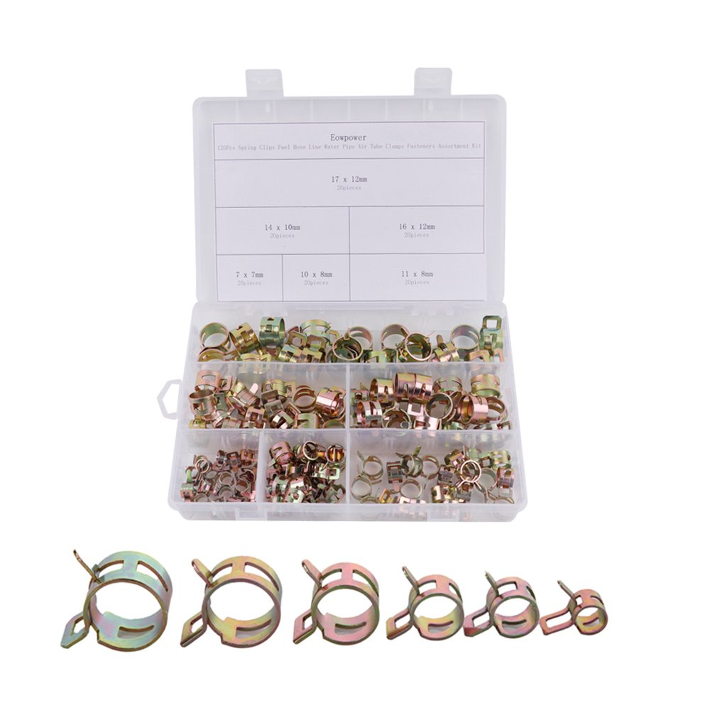 Eowpower 120Pcs Spring Clips Fuel Hose Line Water Pipe Air Tube Clamps Fasteners Assortment Kit