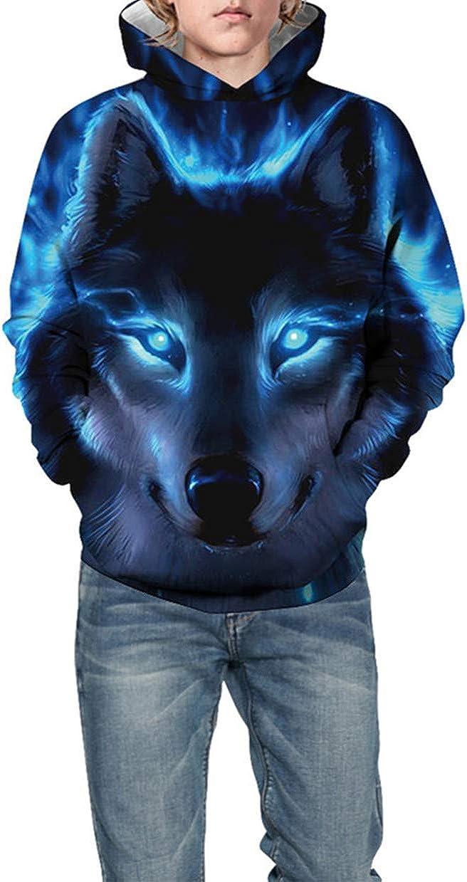 TRIFUNESS Teen Boys 3D Print Pullover Hoodies Unisex Kids Sweatshirts with Pocket 7-14Y