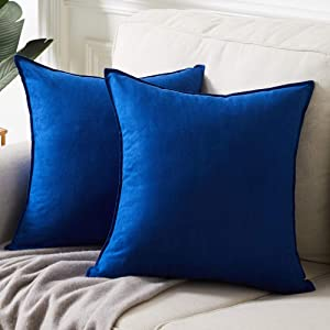 Fancy Homi 2 Packs Premium Faux Suede Decorative Throw Pillow Covers, Super Soft Square Pillow Case,Solid Cushion Cover for Couch/Sofa/Bedroom (18