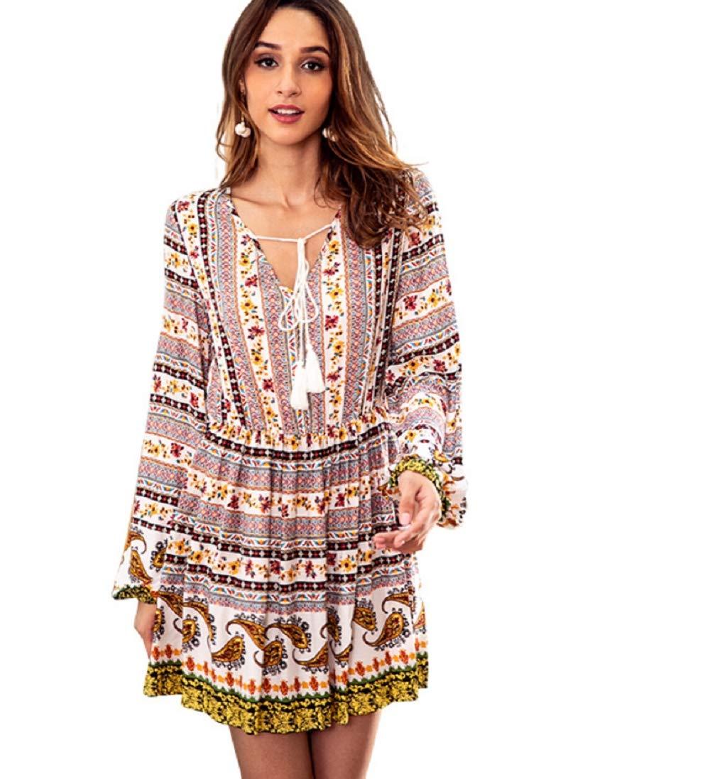 White XL Women V Neck Boho Floral Mini Dress Tether Summer Long Sleeve Beach Leisure Dress