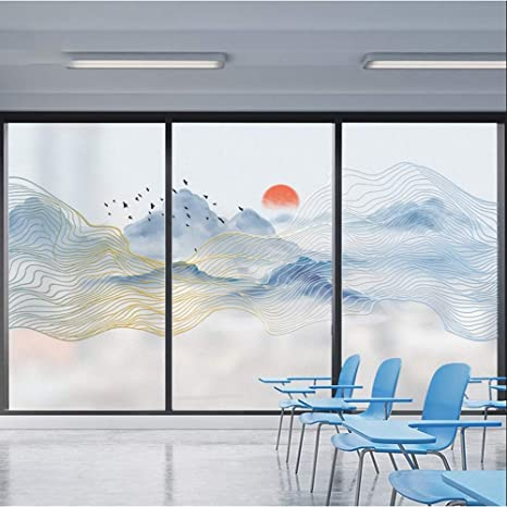 JJZZ Película para ventanas Pintura de Paisaje película de Vidrio electrostático Esmerilado, Empresa Restaurante Hotel partición Puerta corredera: Amazon.es: Deportes y aire libre