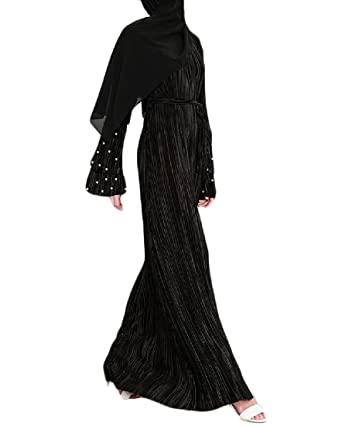 0f124447568c Comaba Womens Pleated Vogue Long Sleeve Beads Muslim Strappy Maxi Dress  Black XS