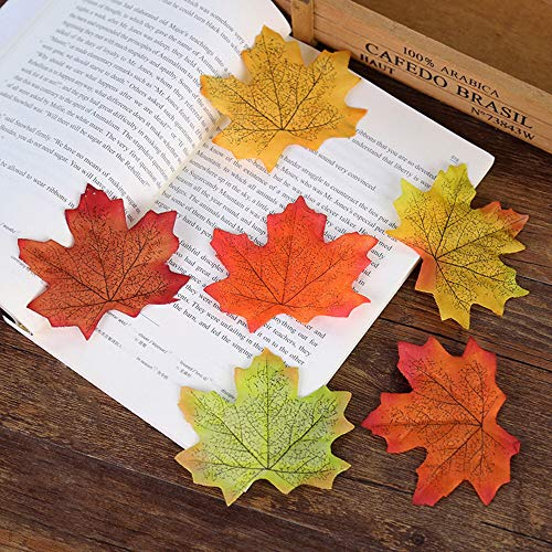 COCOScent Artificial Maple Leaves Approximately Assorted Mixed Fall Rich Artificial Flower Fall Colored Silk Maple Leaves for Weddings, Autumn Party,Events and Decorating Hardwork (250pcs, 5 Colors)
