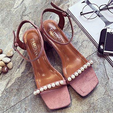RTRY Women'S EU36 Sandals Party CN36 Imitation Gladiator US6 Comfort Comfort Summer Pearl Dress amp;Amp; Evening Chunky Pu Spring UK4 Heelblushing Buckle Gladiator drdwHpq5