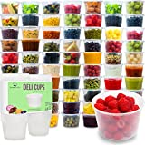 microwaveable cups for kids - Plastic Food Storage Containers with Lids - Restaurant Deli Cups / Foodsavers, Baby & Portion Control - Kids Lunch Boxes - Watertight / Leakproof Takeout Set (15.2oz, 50pcs)