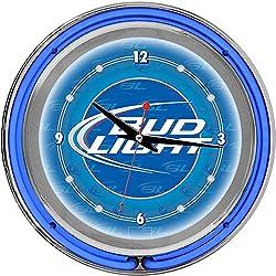 Bud Light Chrome Double Ring Neon Clock, 14
