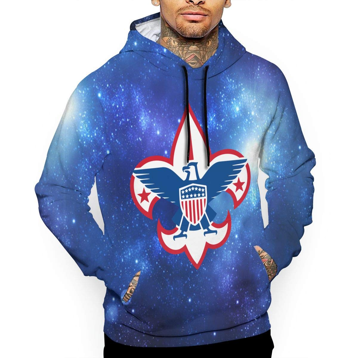 Boy Scouts of America Mens Realistic 3D Print Pullover Hoodie with Pockets White by Helidoud