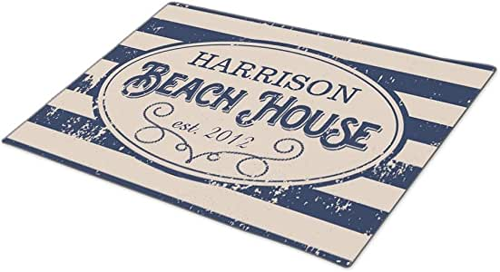 AbbyDay Doormat Beach House Stripe Family Name Funny Door Mat One size