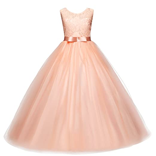 IBTOM CASTLE Big Girls Lace Flower Girls Dress Long Maxi Kids Bridesmaid Pink 4-5
