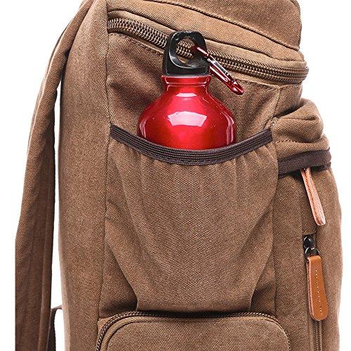 Gendi alta calidad bolsa de lona hombros bolsa para portátil bolsa de la escuela ocio turismo paquete multifuncional (caqui) marrón