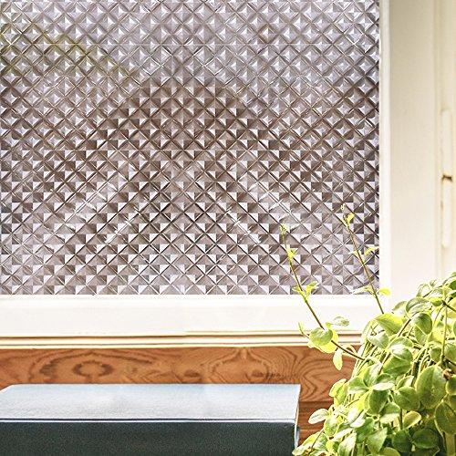 RABBITGOO Window Film Mosaic Window Cling Dark Window Films with Stained Glass Effect for Window Decor Window Sticker 17.7