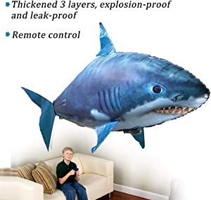 RIYIFER Remote Control Flying Clownfish, Remote Control Flying Inflatable Shark Remote Control Air Swimmers Inflatable for Party Photo Prop Novelty Gift,Blue,L