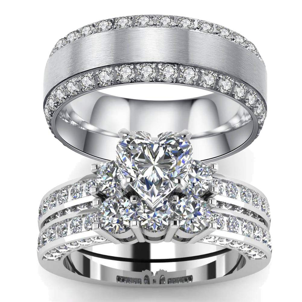 LOVERSRING 3pc His and Hers Couple Ring Bridal Set His Hers Women White Gold Filled Heart Cz Man Titanium Wedding Ring Band Set
