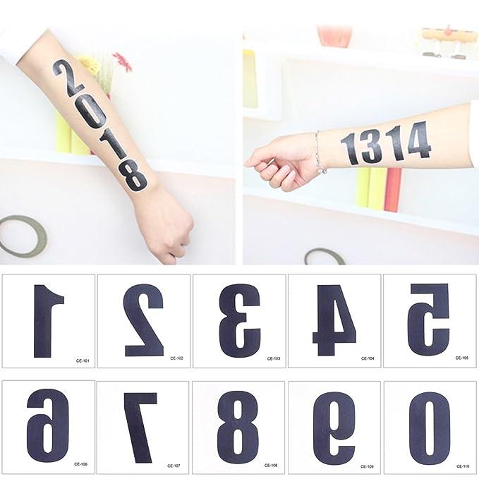 50 hojas de números para el cuello del dedo, adhesivo de tatuaje ...