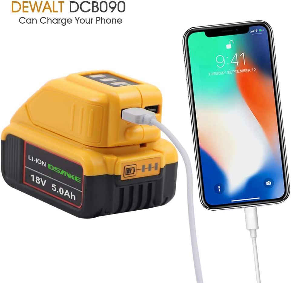 20V Convertidor de bater/ía de iones de litio DCB090 Adaptador USB para bater/ías Dewalt DCB182 DCB184 DCB183 DCB185 DCB205 TenHutt 14.4V ~ 18V
