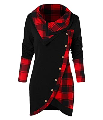 765a72a4e99 Women's Tunic T Shirts Plaid Long Sleeves Asymmetrical Tartan Panel Cowl  Neck Tulip Front Casual at Amazon Women's Clothing store: