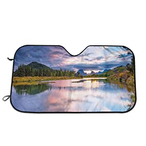 Windshield Sunshade for Car,Nature Outdoor Scene of Beautiful Colorful Sunset On Oxbow Bend of Snake River,Front Window Sun Shade Visor Shield Cover(27.5 x 51)
