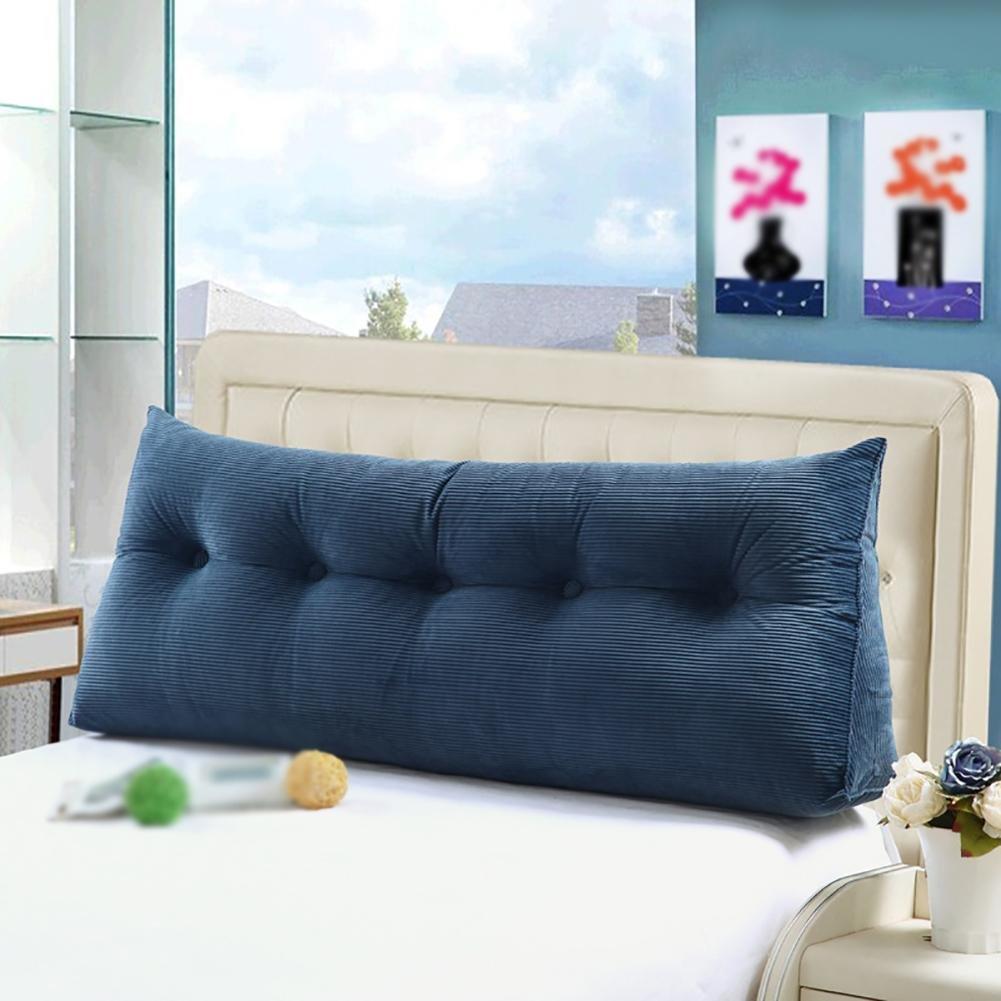 FLHSLY Bedside Triangle Big Backrest Lumbar support cushions Reading pillows Sofa Backrest Back wedge backrest , blue , 100cm