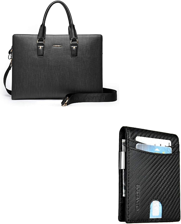 BOSTANTEN Leather Briefcase Shoulder Laptop Business Slim Bag for Men & Women+BOSTANTEN Leather Wallets for Men Bifold Money Clip Slim Front Pocket RFID Blocking Card Holder Black